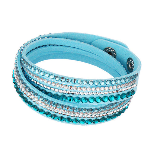 Rhinestones Leather Bracelet_12la/ 14 Colors Available; Click to View