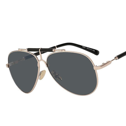 Leather Sunglasses Metal Frame/ 2 Colors Available