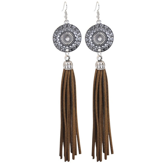 Long Earrings _16le/ 2 Colors Available; Black & Brown