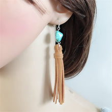 Tassel Earrings Blue Stone_17l/  3 Colors Available, Click to View