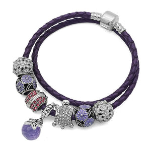 Purple Leather Bracelet