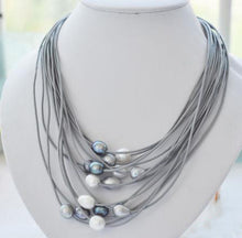 Leather Fashion Necklace _03ln/ 4 Pearl Colors Available, Click to View