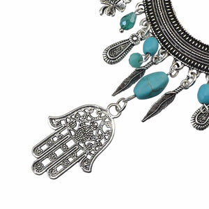 Bohemian Leather Necklace & Earrings