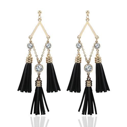 Tassel Leather Bohemian Earrings _29le/ 2 Colors Available