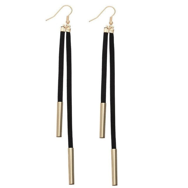 Trendy Leather Tube Long Drop Earrings_26le/ 12 Colors Available