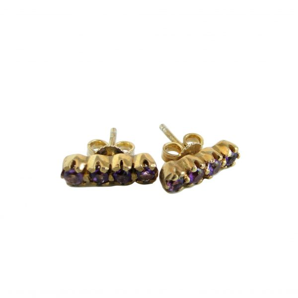 Amethyst Strip Studs