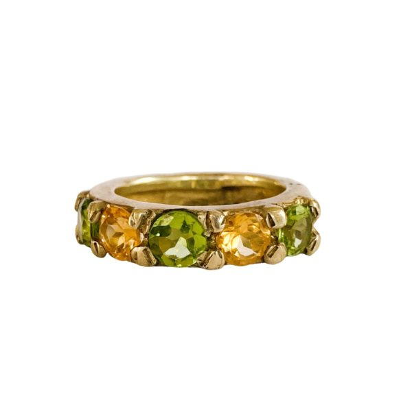 Chunky Gem Citrine & Peridot Ring