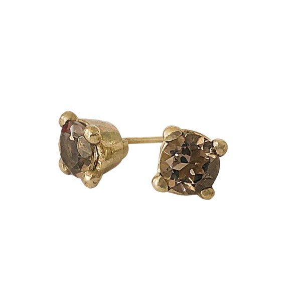 Chunky Gem Studs - Smokey Quartz
