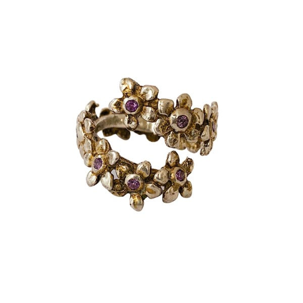 Daisy Chain Ring With Amethysts