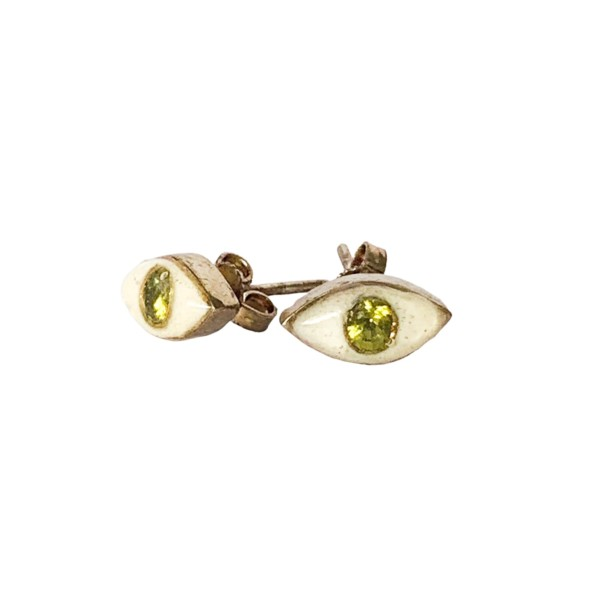Tiny Eye Studs With Green Peridot
