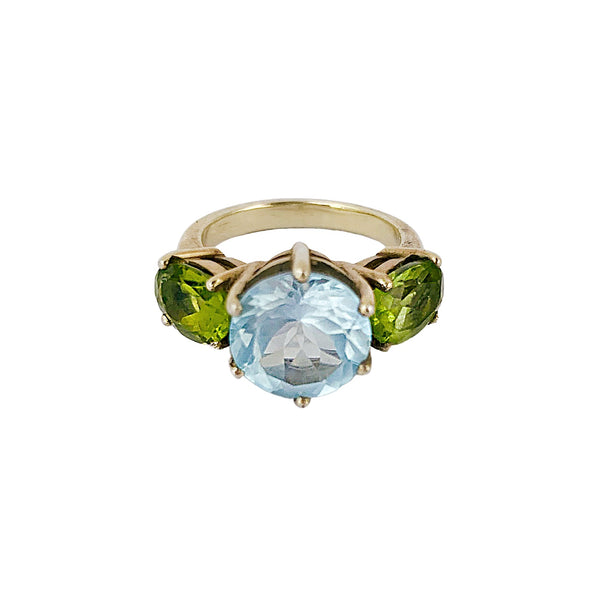 Blue Topaz & Green Peridot Glam Rock Ring