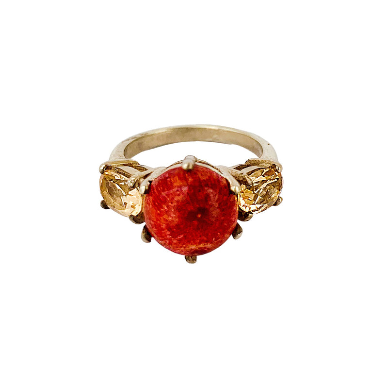 Coral & Citrine Glam Rock Ring