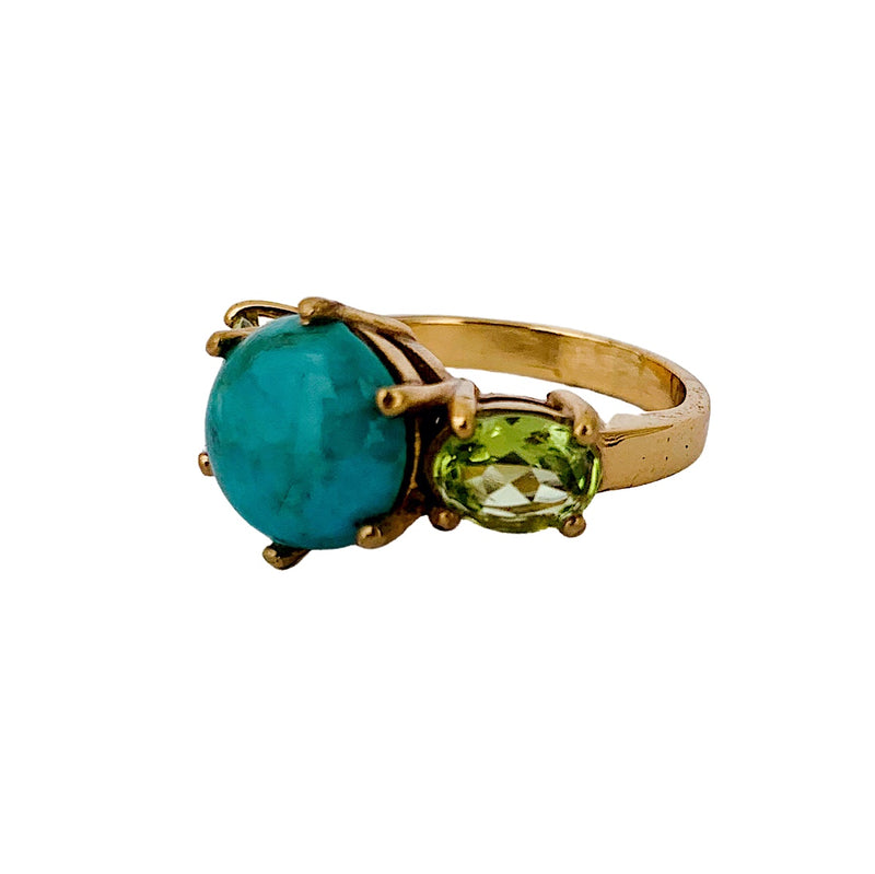 Turquoise & Green Peridot Glam Rock Ring