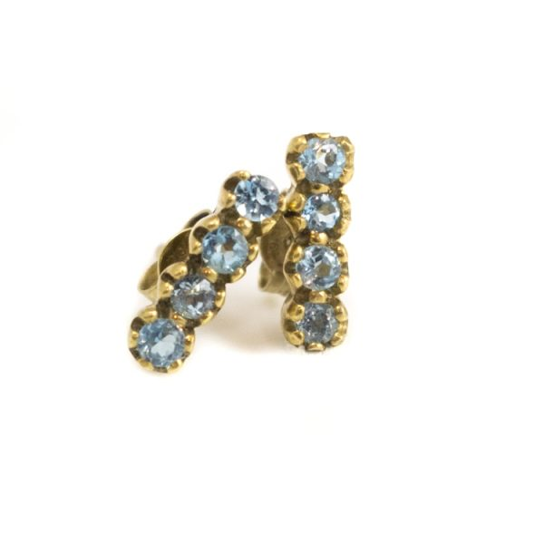 Blue Topaz Strip Studs