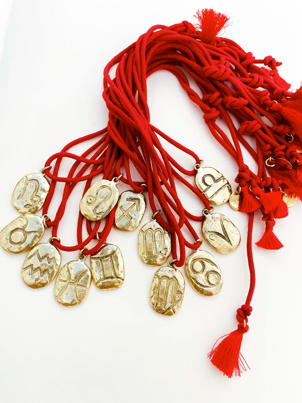 Zodiac Star Sign Disks on Red Cord