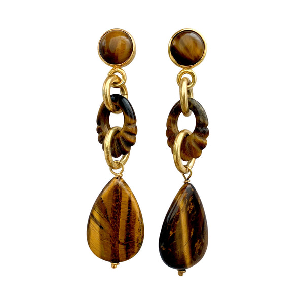 Tigers Eye Cocktail Earrings