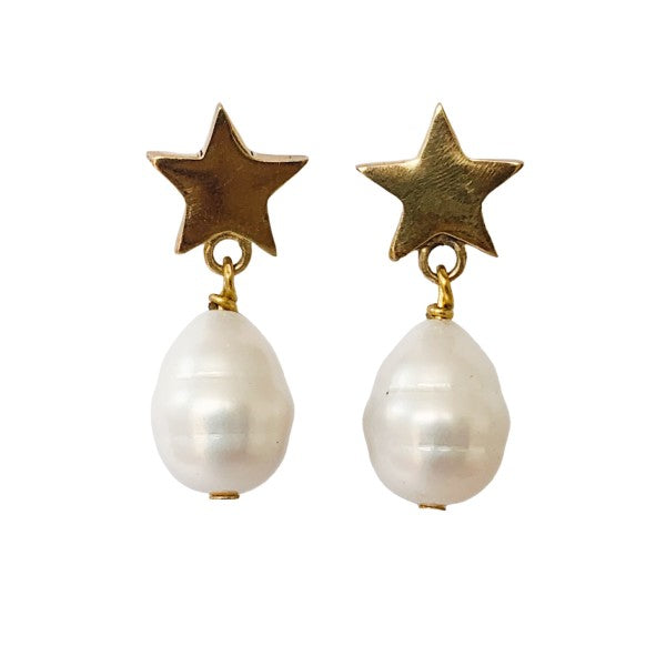 Star Cocktail Earrings With Pearls