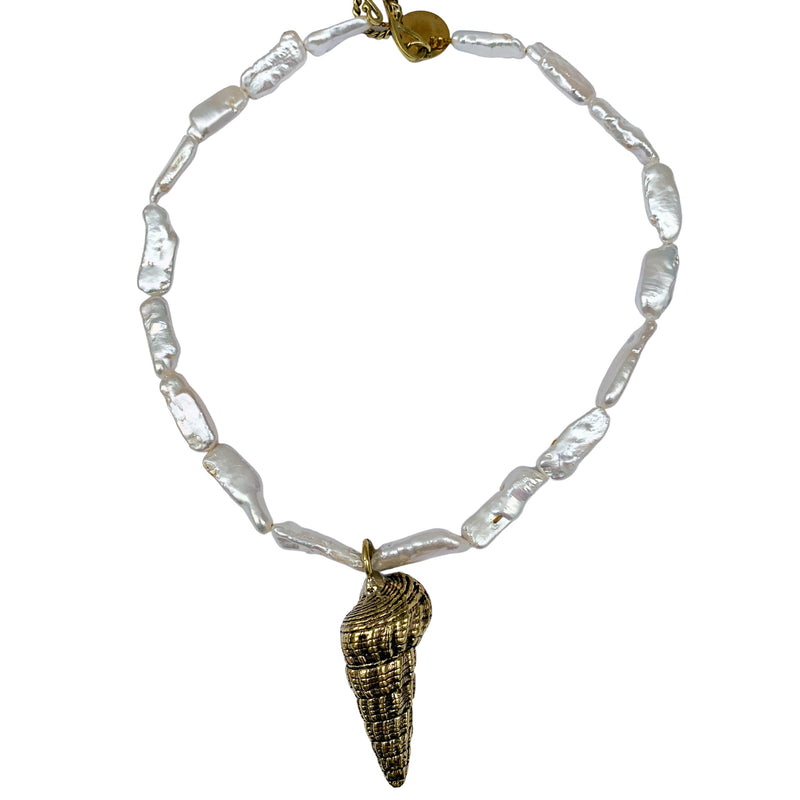 Ladder Shell Choker with Pearl Beads