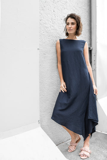 Pipa Dress in Navy