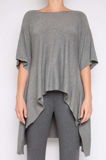 Yehu Top in Light Grey Melange