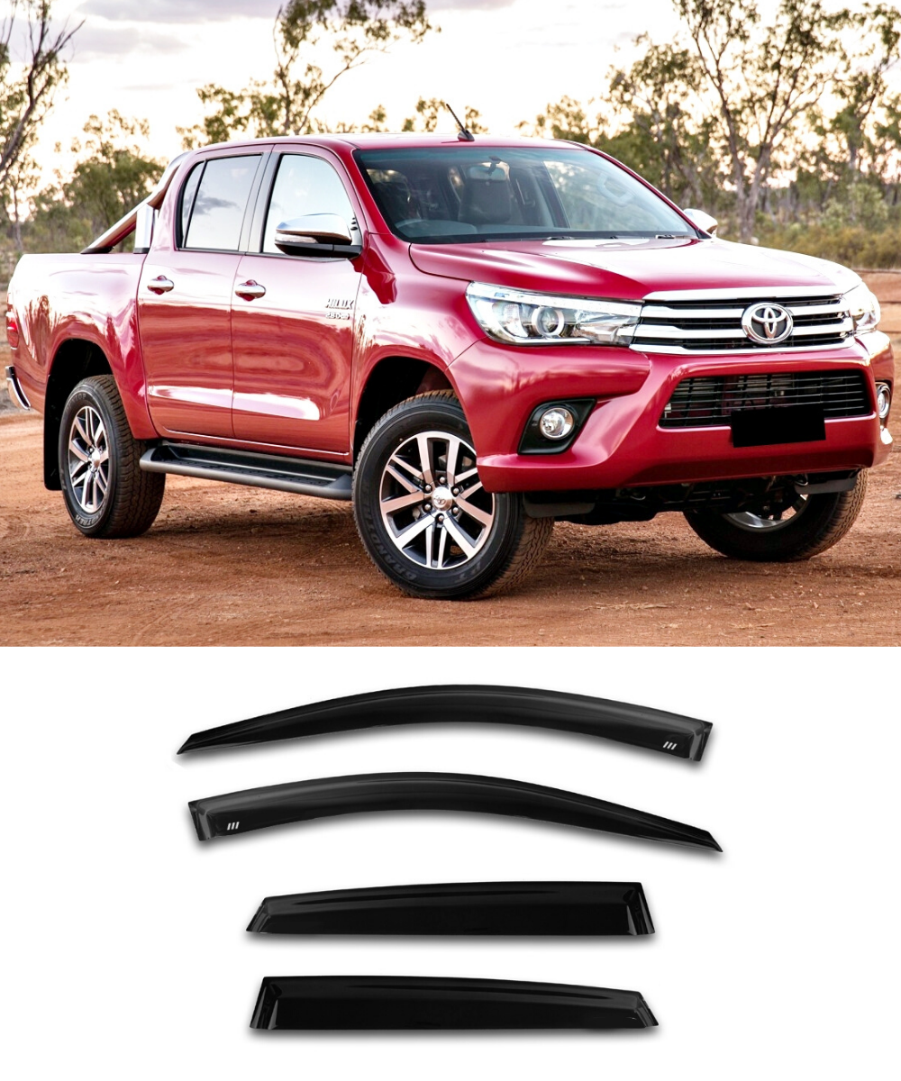 Toyota HILUX Dual Cab (15-19) Window Visors / Weathershields / Weather Shields - ELITE GARAGE