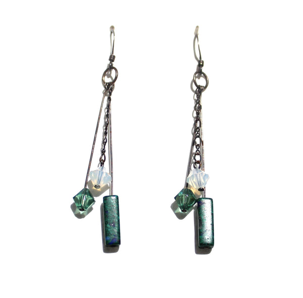 Sterling Silver With Crystal Earrings