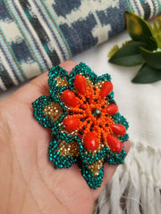 Beaded Flowers Barrette