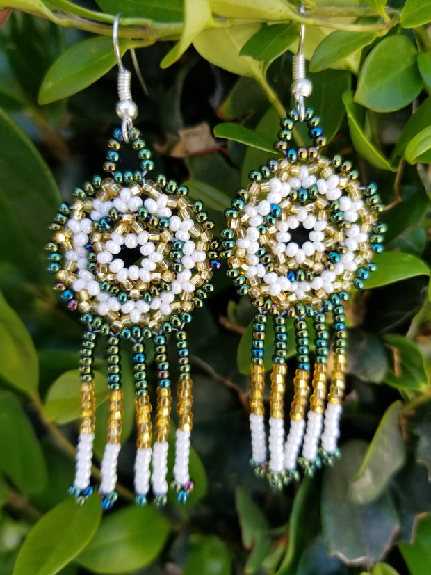White, Green & Gold Earrings