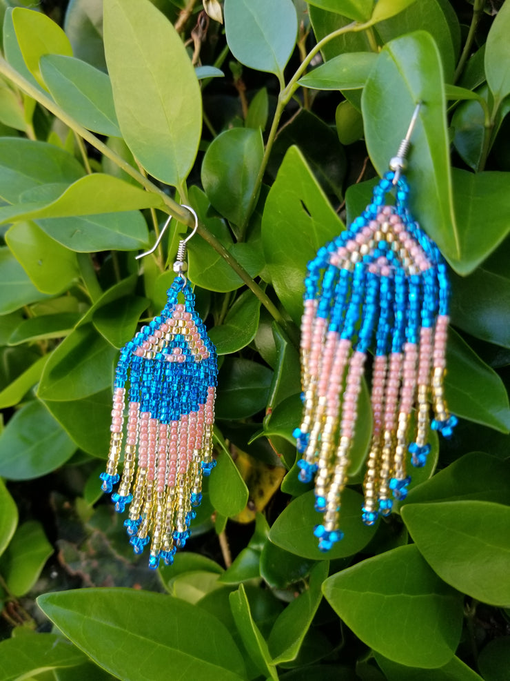 Turquoise Pink Gold Earrings