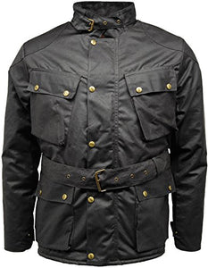 High Quality Men's Wax Speedway Quilted Biker Motorcycle Jacket Coat