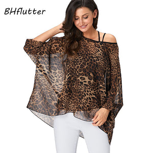 7ebc83ffc53 BHflutter 4XL 5XL 6XL Plus Size Women Blouse 2019 Sexy Off Shoulder Leopard  Print Summer Tops Tees Casual Chiffon Blouses Shirts