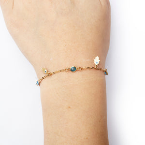 Hanging Hamsa & Good Eye Adjustable Bracelet