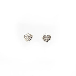 Baby Diamond Heart Bezel Screw Back