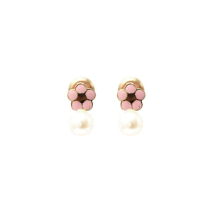 Baby Fay Flower & Pearl Screw Backs