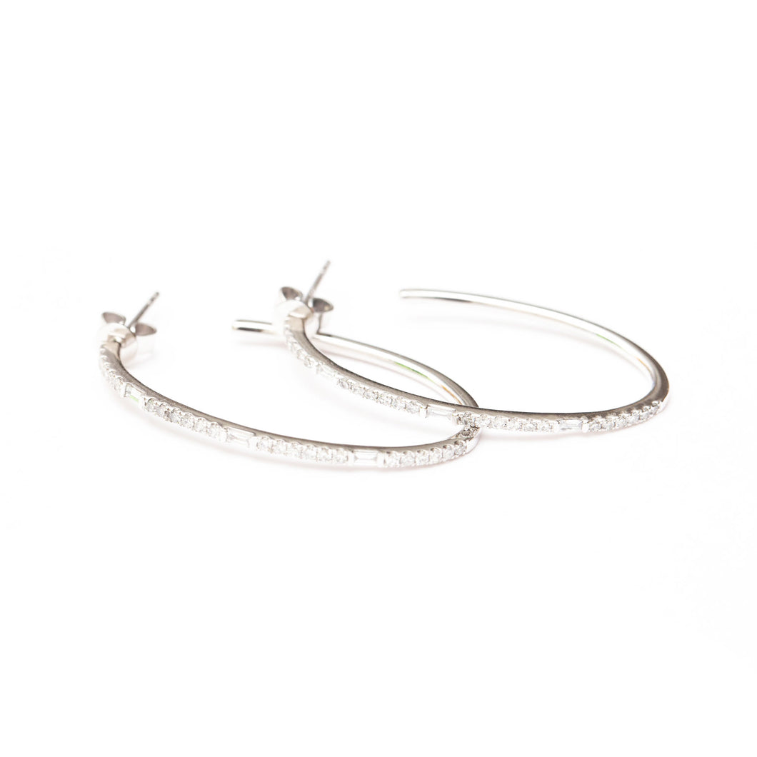 Diamond Baguette Hoops