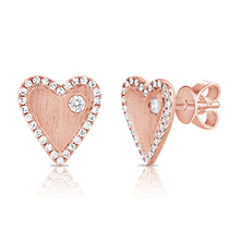Load image into Gallery viewer, Gold & Diamond Heart Earrings