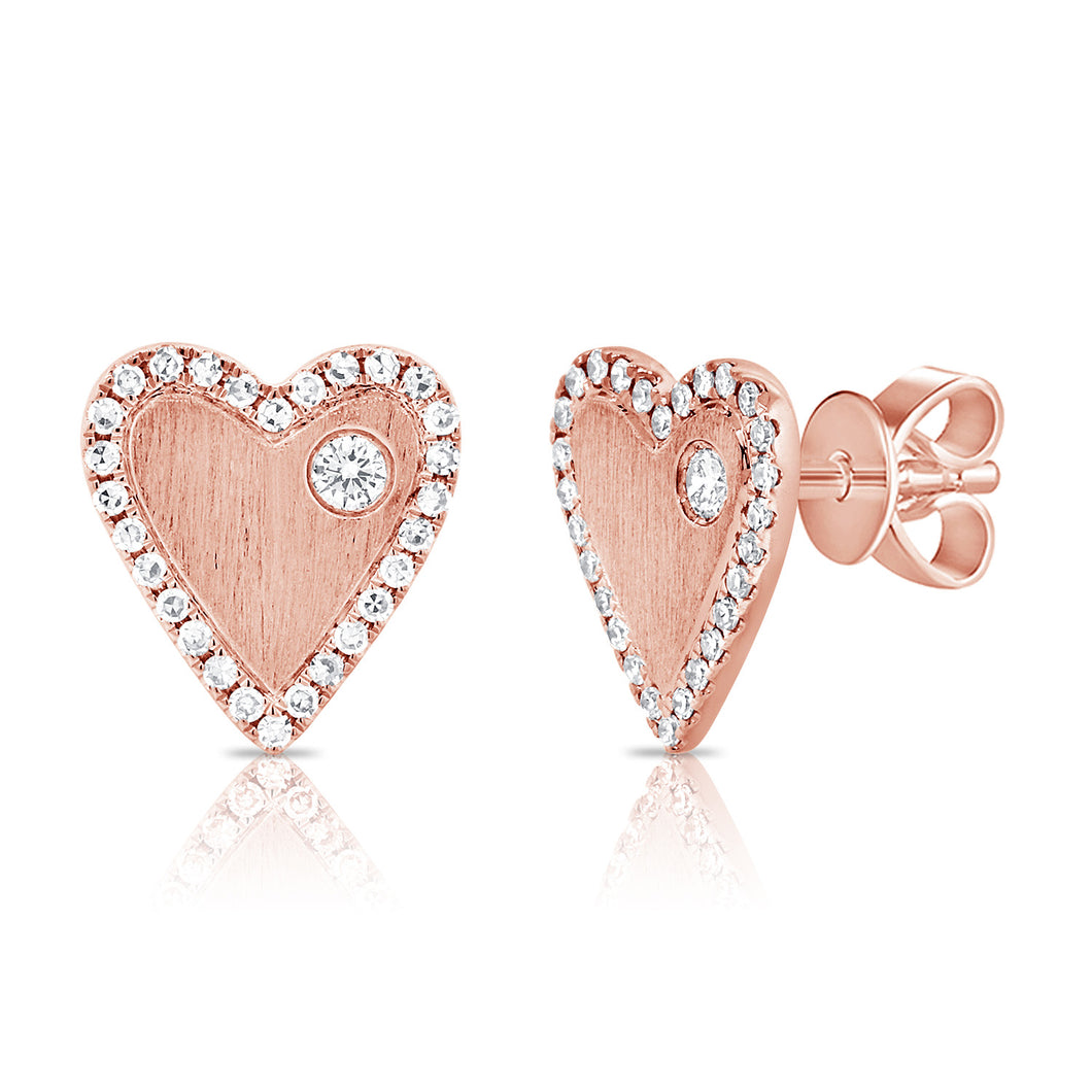 Gold & Diamond Heart Earrings