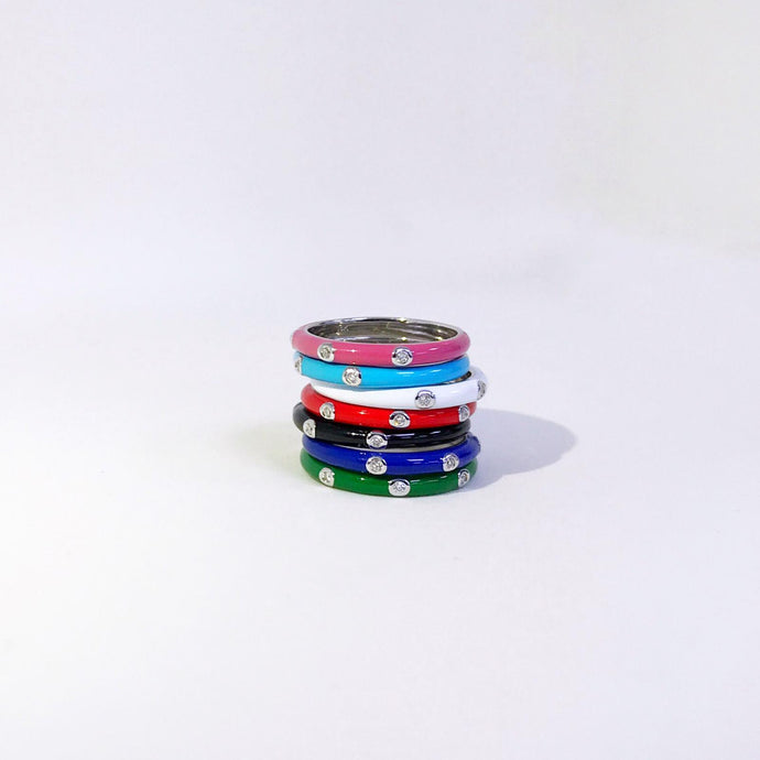 Three Stone Enamel Color Ring