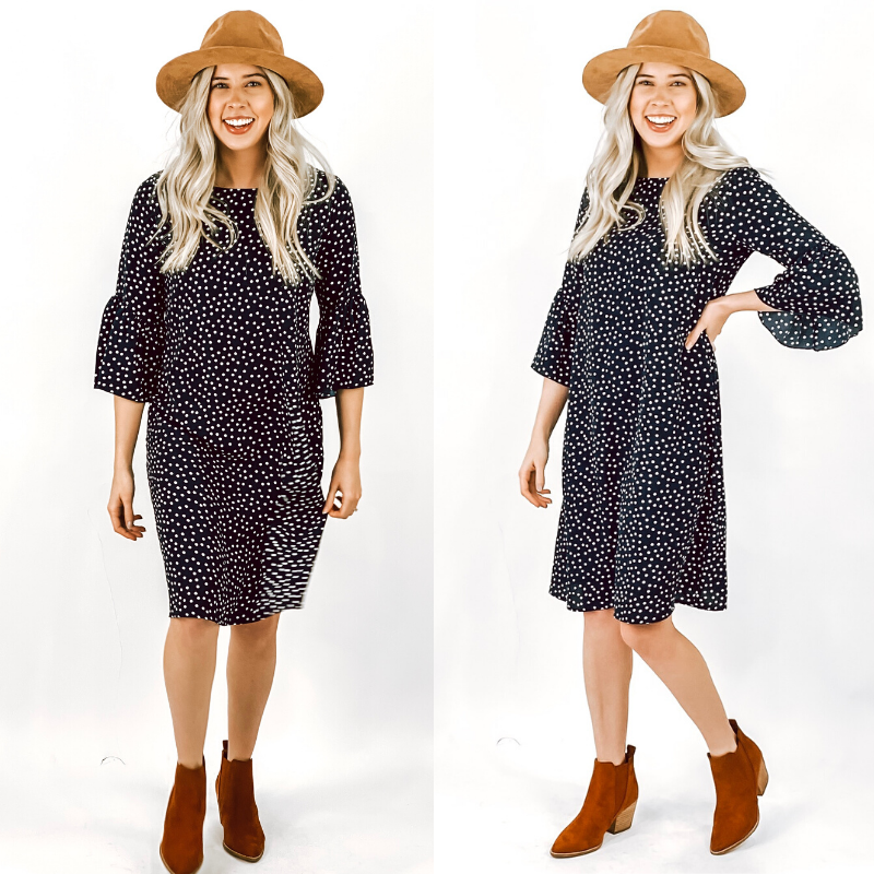 Navy Polka Dot Ruffle Sleeve Dress