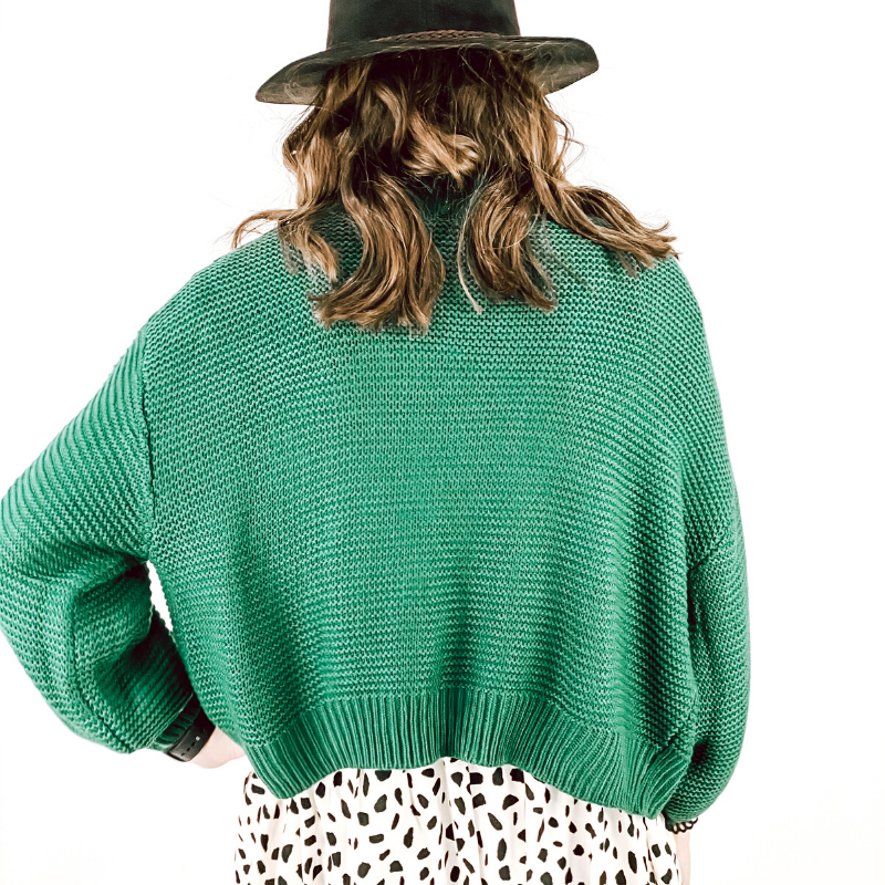 Green Cropped Balloon Sleeve Sweater