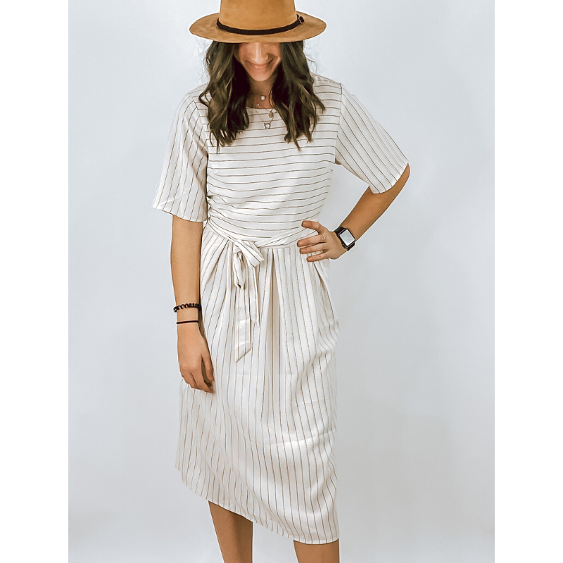 Cream & Navy Striped Sleeved Midi Dress