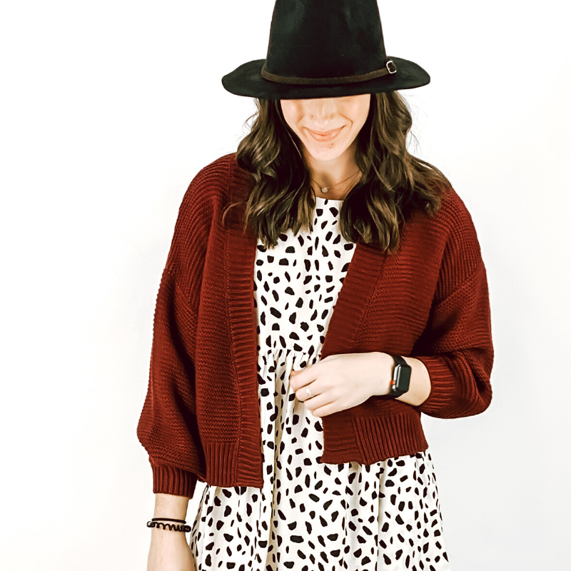 Burgundy Cropped Balloon Sleeve Cardi