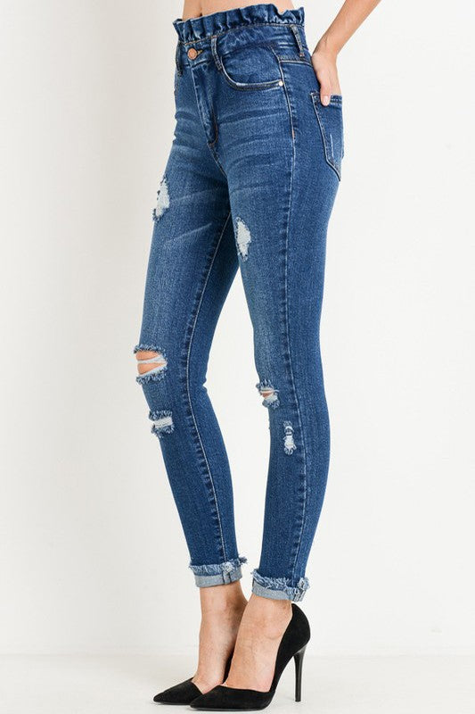 Paperbag Distressed Jeans