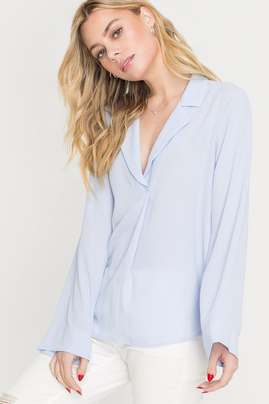 Light Blue Pleated Blouse