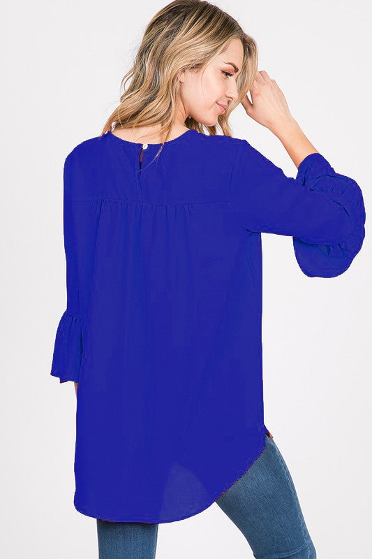 Cobalt Bell Sleeve Top