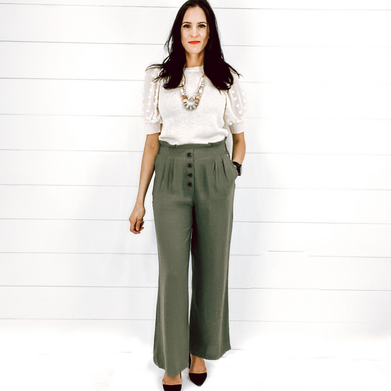 Olive Ruffle Top Pants