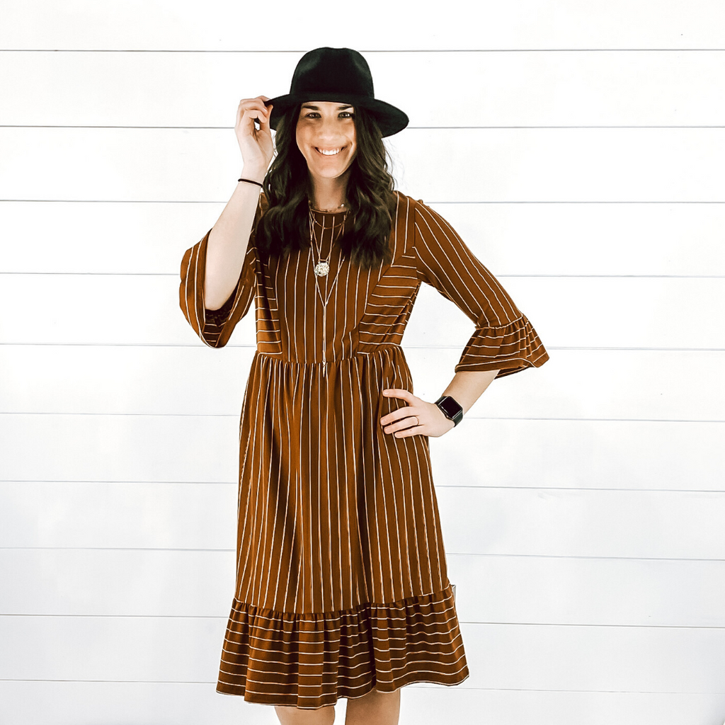 Rust Striped Midi Dress