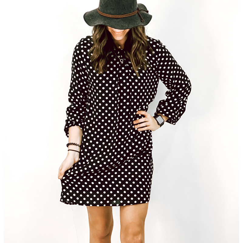 Black Polka Dot Shift Dress