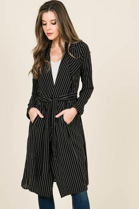 Black + White Pinstripe Duster