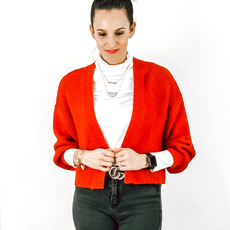 Red Cropped Balloon Sleeve Sweater
